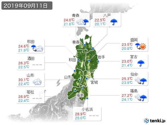 東北地方(2019年09月11日の天気