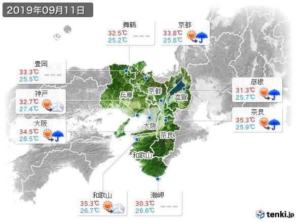 近畿地方(2019年09月11日の天気