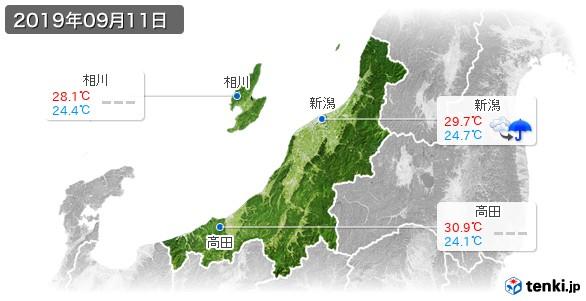 新潟県(2019年09月11日の天気