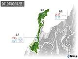 2019年09月12日の石川県の実況天気