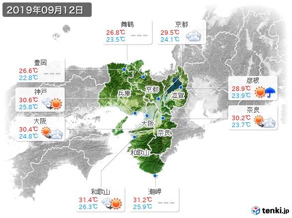 近畿地方(2019年09月12日の天気