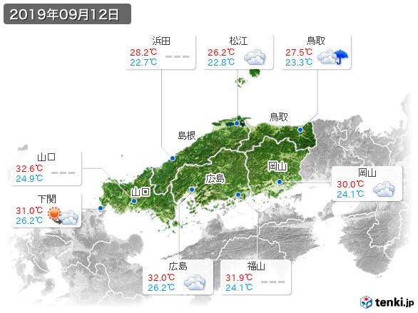 中国地方(2019年09月12日の天気