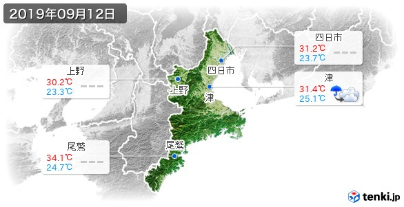 三重県(2019年09月12日の天気