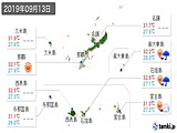 2019年09月13日の沖縄県の実況天気