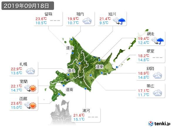 北海道地方(2019年09月18日の天気
