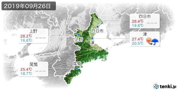 三重県(2019年09月26日の天気