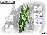 2019年09月29日の長野県の実況天気
