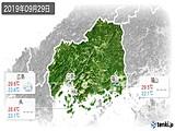 2019年09月29日の広島県の実況天気