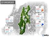 2019年09月30日の長野県の実況天気