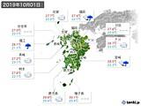 2019年10月01日の九州地方の実況天気