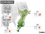 2019年10月01日の千葉県の実況天気