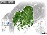 2019年10月01日の広島県の実況天気