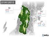2019年10月01日の山形県の実況天気