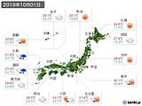 2019年10月01日の実況天気