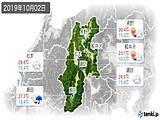 2019年10月02日の長野県の実況天気