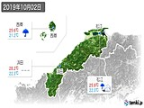 2019年10月02日の島根県の実況天気
