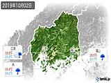 2019年10月02日の広島県の実況天気