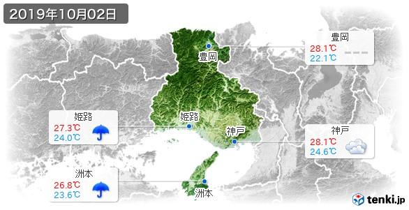 兵庫県(2019年10月02日の天気