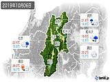 2019年10月06日の長野県の実況天気