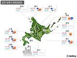 2019年10月09日の北海道地方の実況天気