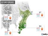 2019年10月09日の千葉県の実況天気