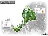 2019年10月09日の福井県の実況天気