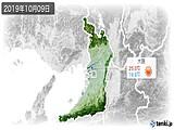 2019年10月09日の大阪府の実況天気