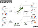 2019年10月09日の沖縄県の実況天気