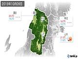 2019年10月09日の山形県の実況天気
