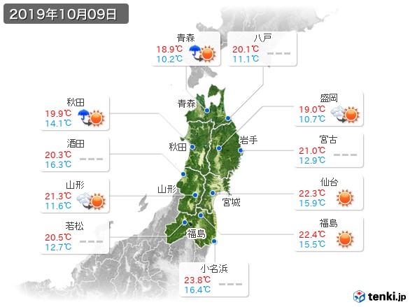 東北地方(2019年10月09日の天気