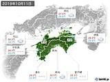 2019年10月11日の四国地方の実況天気