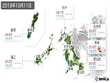 2019年10月11日の長崎県の実況天気