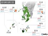 2019年10月11日の鹿児島県の実況天気