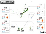 2019年10月11日の沖縄県の実況天気