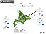 2019年10月12日の北海道地方の実況天気