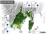 2019年10月12日の静岡県の実況天気