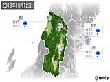 2019年10月12日の山形県の実況天気