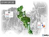 2019年10月13日の京都府の実況天気