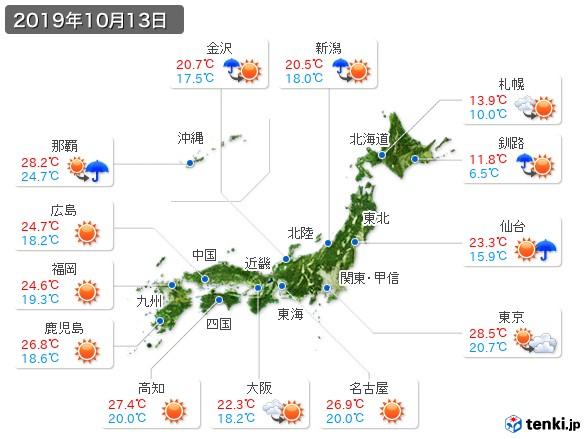 過去の天気(実況天気・2019年10月13日) - 日本気象協会 tenki.jp
