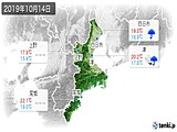 2019年10月14日の三重県の実況天気
