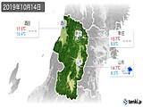 2019年10月14日の山形県の実況天気