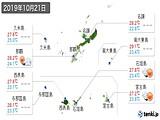 2019年10月21日の沖縄県の実況天気