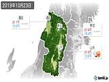 2019年10月23日の山形県の実況天気