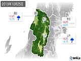 2019年10月25日の山形県の実況天気
