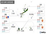 2019年10月26日の沖縄県の実況天気
