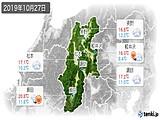 2019年10月27日の長野県の実況天気