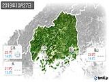 2019年10月27日の広島県の実況天気