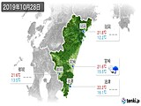 2019年10月28日の宮崎県の実況天気