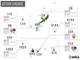 2019年10月28日の沖縄県の実況天気