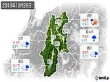 2019年10月29日の長野県の実況天気